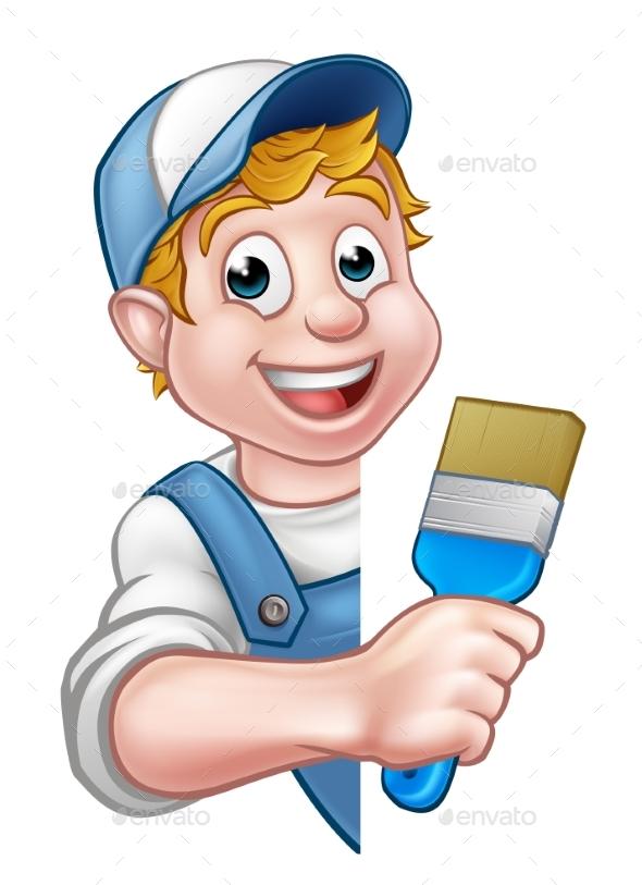 Painter Decorator Handyman Cartoon Character - Miscellaneous Vectors