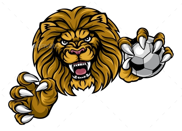 Lion Soccer Ball Sports Mascot - Animals Characters