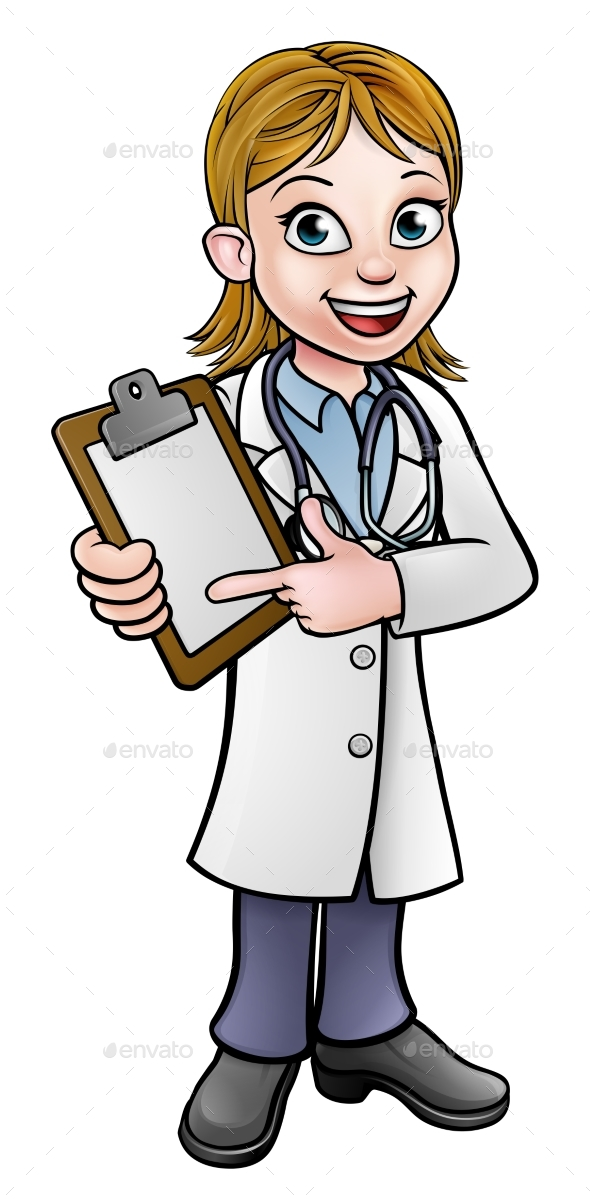 Doctor Cartoon Character Holding Clip Board - Health/Medicine Conceptual