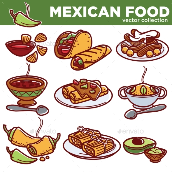GraphicRiver Mexican Food Cuisine Traditional Dishes Vector 20514062