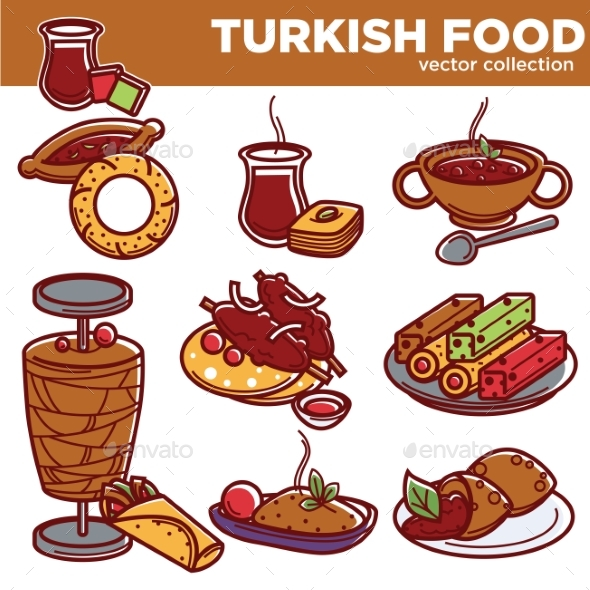 GraphicRiver Turkish Food Cuisine Dishes Vector Icons 20514078