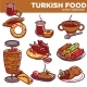 Turkish Food Cuisine Dishes Vector Icons