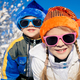 Happy little children playing  in winter snow day. - PhotoDune Item for Sale