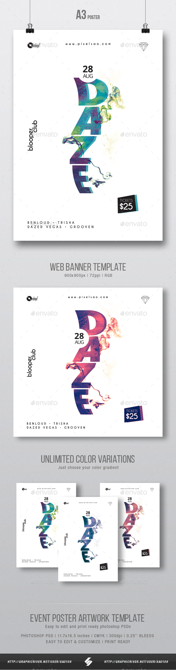 Daze - Minimal Party Flyer / Poster Artwork Template A3 - Clubs & Parties Events