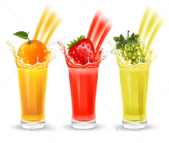 Set of Fruit Juice with Splash in a Glass