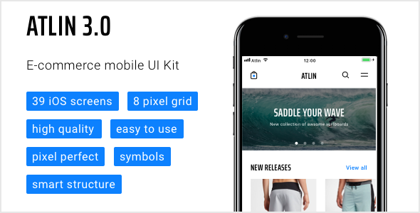 Atlin 3.0 — e-commerce mobile UI Kit - Sketch Templates