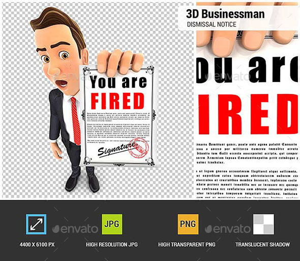 GraphicRiver 3D Businessman Holding a Dismissal Notice 20514224