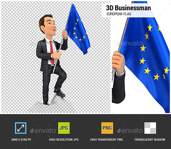 3D Businessman Holding European Flag on Top of Mountain - Characters 3D Renders