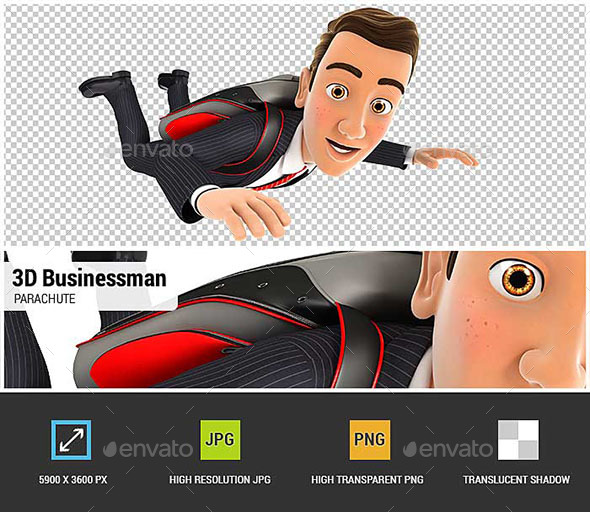 3D Businessman Jumping with a Parachute - Characters 3D Renders