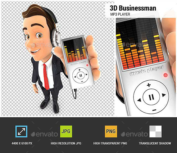 GraphicRiver 3D Businessman Listening Music on Mp3 Player 20514298