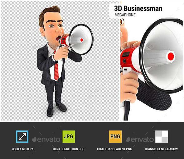 GraphicRiver 3D Businessman Megaphone 20514326