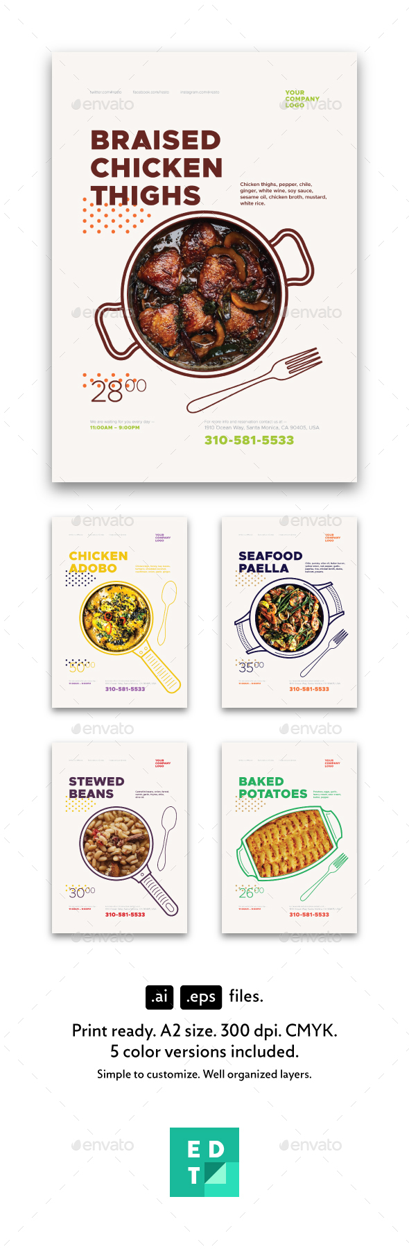 Dishes Promo Poster Templates - Restaurant Flyers