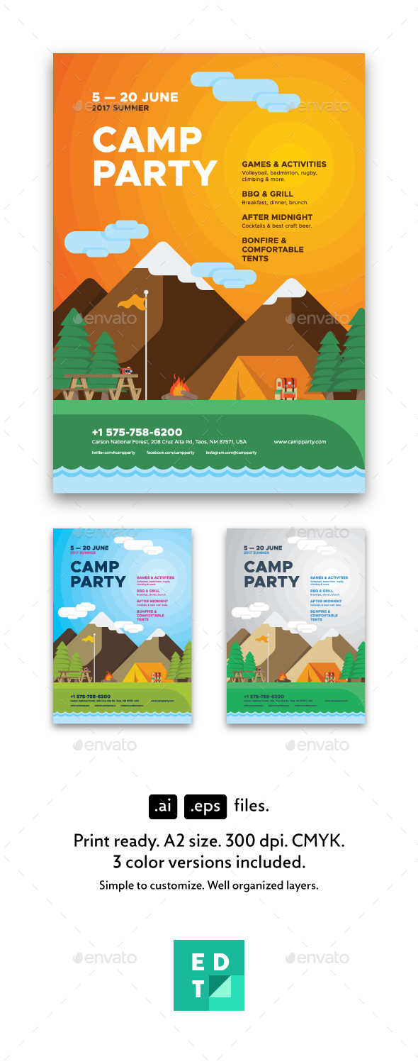 Camp Party Poster Template - Holidays Events
