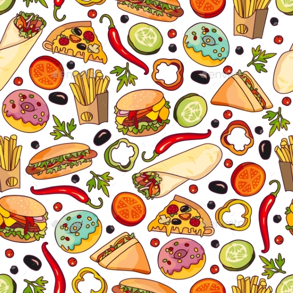 Vector Cartoon Fast Food Seamless Pattern - Backgrounds Decorative