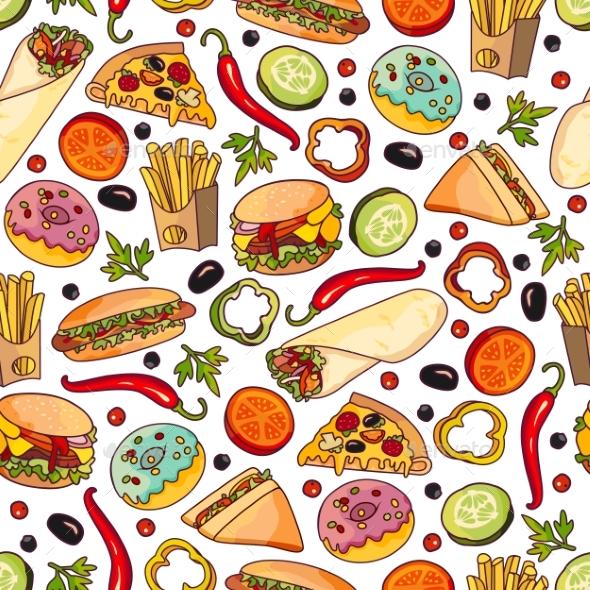 vector cartoon fast food seamless pattern by sabelskaya