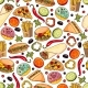 Vector Cartoon Fast Food Seamless Pattern