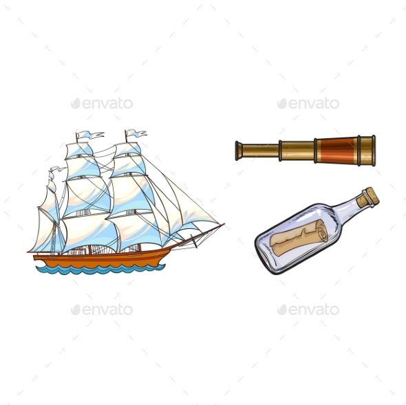 Sailing Ship, Telescope and Message in Bottle - Man-made Objects Objects