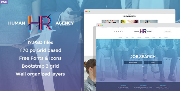 ThemeForest Human Agency Human Resources PSD Template 20400659