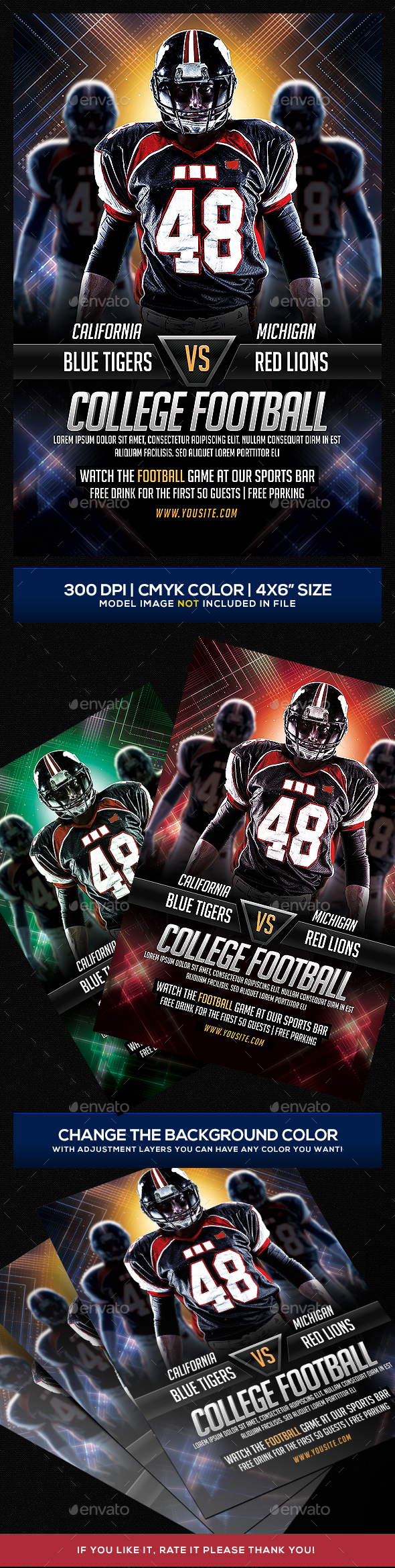 Futuristic College Football Flyer - Sports Events