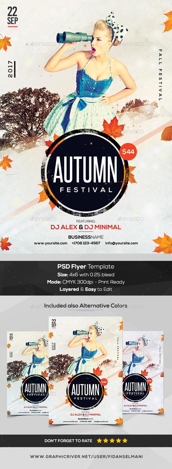 Autumn Festival - PSD Flyer Template - Flyers Print Templates