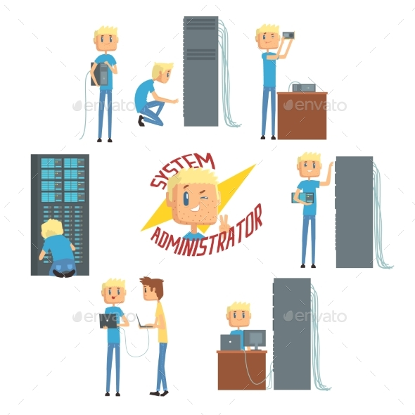 GraphicRiver System Administrator Network Engineer Characters 20515045