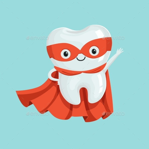 GraphicRiver Cartoon Superhero Tooth Character 20515067