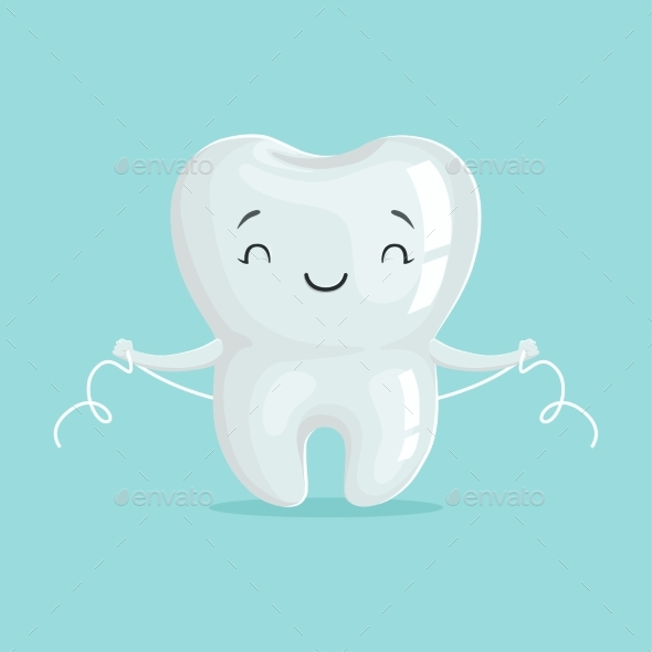 Healthy White Cartoon Tooth Character - Health/Medicine Conceptual