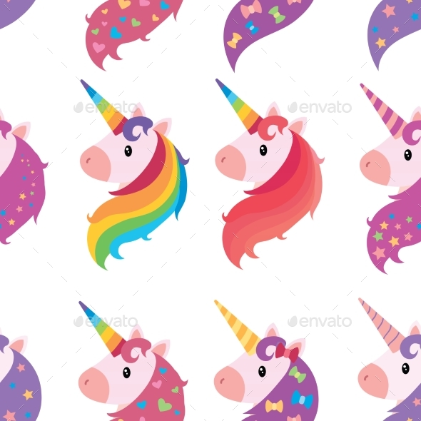 A Set of Portraits of Unicorns in Cartoon Style.  - Animals Characters
