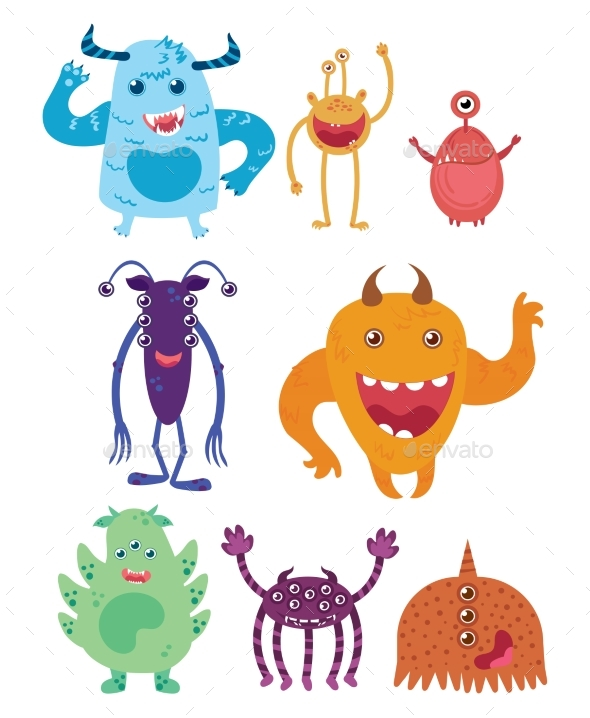 A Set of Cartoon Monsters. Collection of Happy - Animals Characters