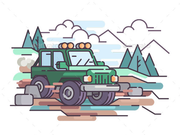 Journey on Jeep Off-road Vehicle - Objects Vectors