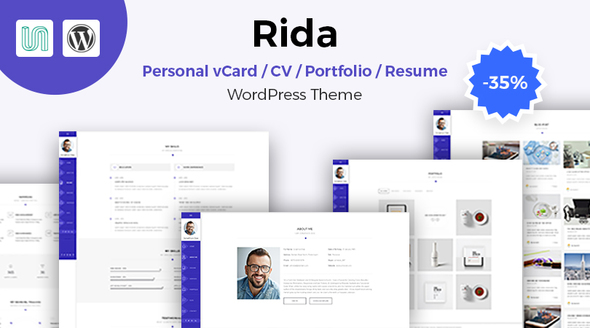 ThemeForest Rida vCard Responsive Resume Portfolio WordPress Theme 20325201