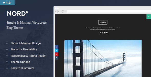 Nord - Simple, Minimal and Clean WordPress Personal Blog Theme (readability, responsive, boxed)