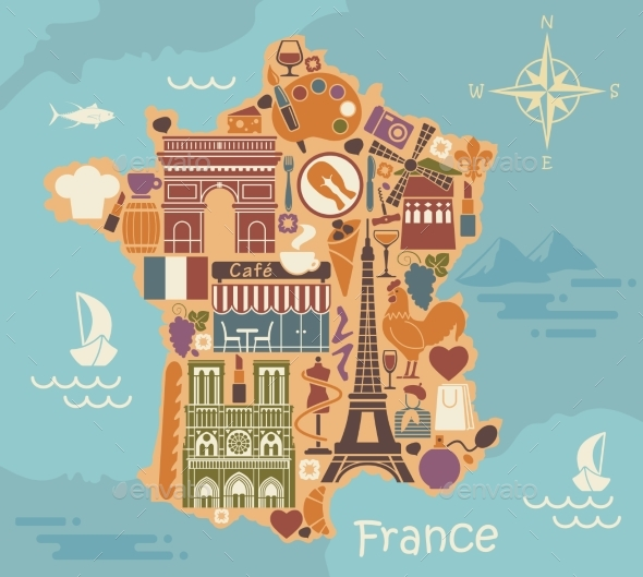 Symbols of France in the Form of a Stylized Maps - Miscellaneous Vectors