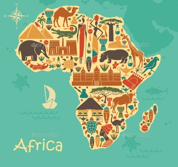 Traditional Symbols of Africa - Miscellaneous Vectors