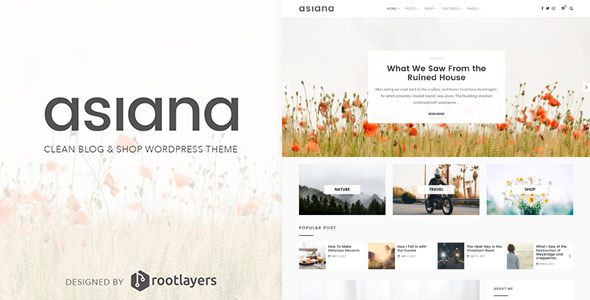 Asiana - Clean Blog & Shop WordPress Theme - Personal Blog / Magazine