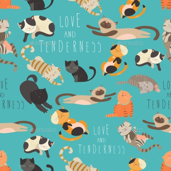 Seamless Pattren Family of Cats - Animals Characters