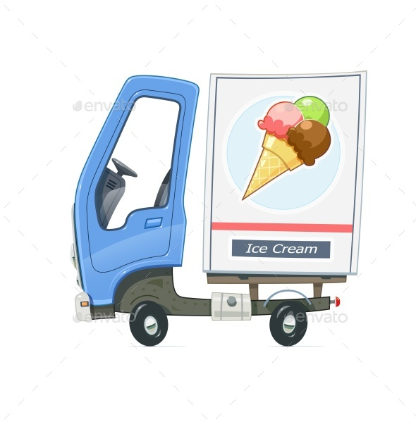 Small Truck Refrigerator for Delivery Ice Cream - Vectors