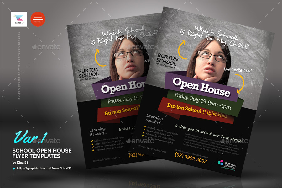 School Open House Flyers By Kinzi  Graphicriver