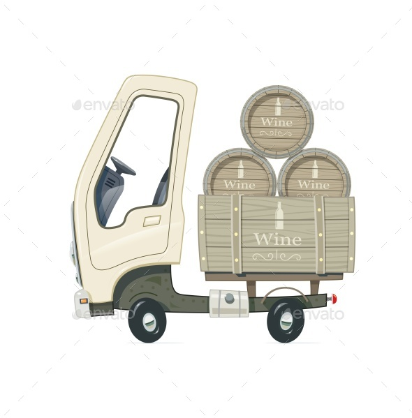 Small Truck for Delivery Wine Barrel - Vectors