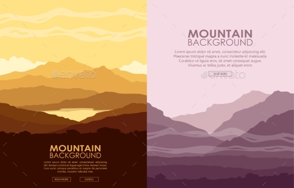 GraphicRiver Set of Mountain Landscapes 20515837