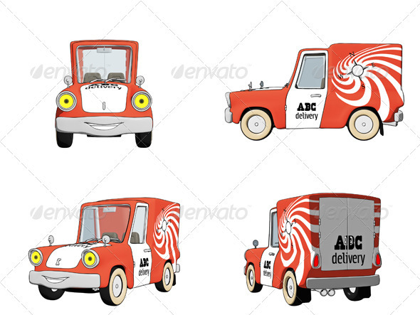 Cartoon Delivery Truck - Objects Illustrations