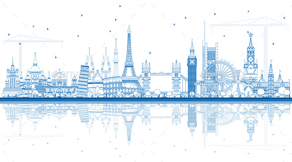 Outline Famous Landmarks in Europe with Reflections. - Buildings Objects