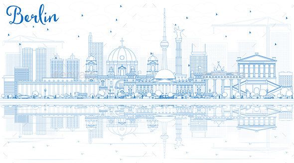 GraphicRiver Outline Berlin Skyline with Blue Buildings and Reflections 20515975