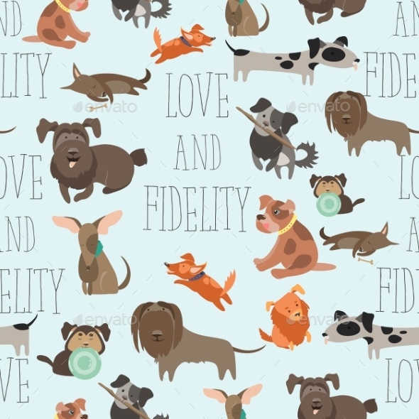 Seamless Pattren Funny Mixed Breed Dogs - Backgrounds Decorative
