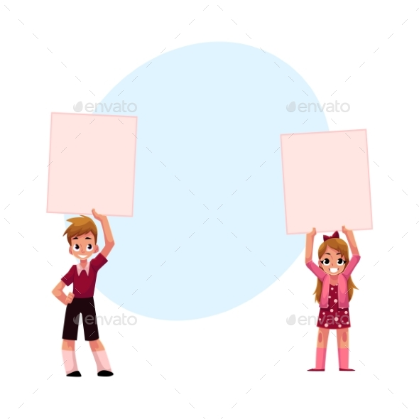 Two Kids Holding Blank Empty Posters - People Characters