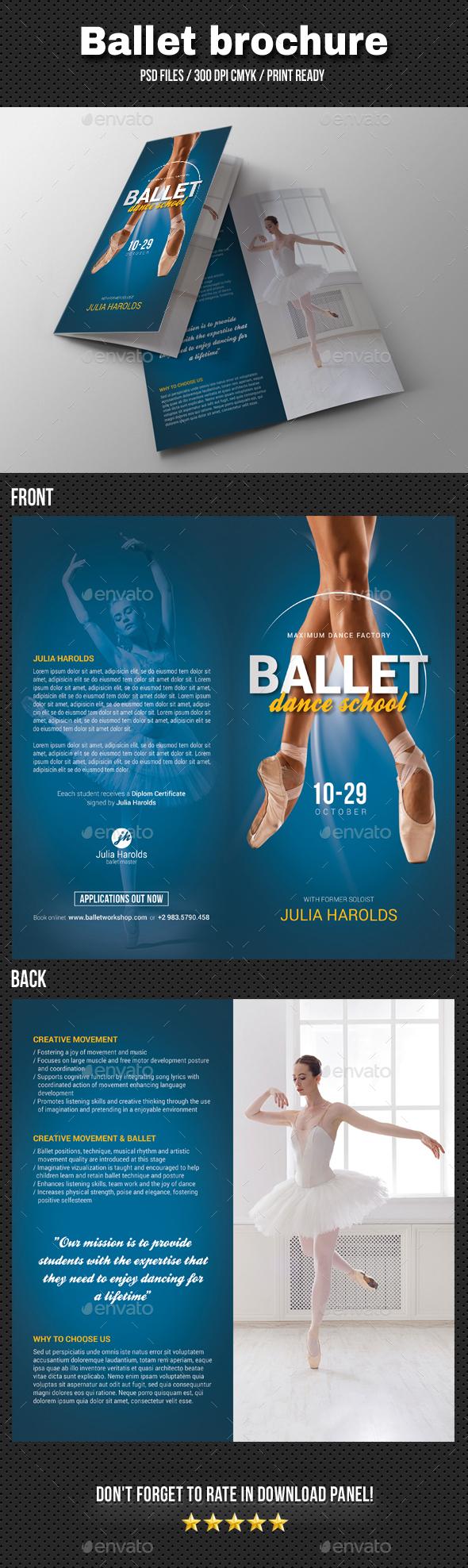 Ballet Workshop Bi-Fold Brochure - Brochures Print Templates