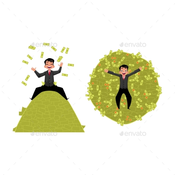 Vector Office Worker Lying on Money Pile Set - Business Conceptual