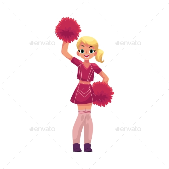 GraphicRiver Vector Smiling Cheerleader Dancing with Pom-poms 20516031