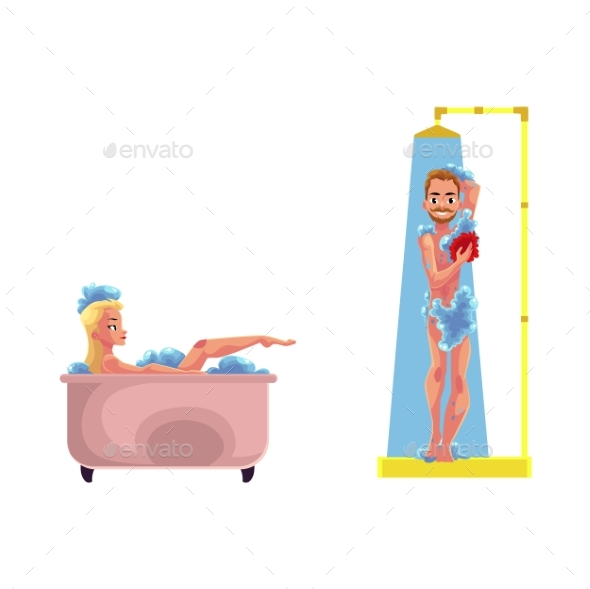 Vector Adult Woman ,Man Washing, Taking Bath - People Characters