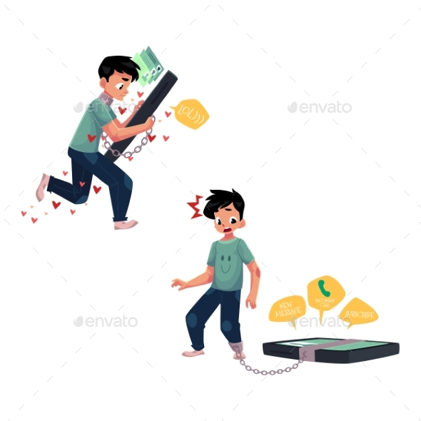 GraphicRiver Boy Chained To Huge Smartphone Phone Dependence 20516035